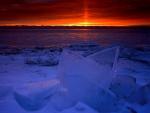 Hielo a orillas del lago Michigan