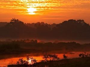 Cielo rojizo al amanecer