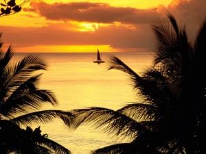 Velero navegando junto a la costa