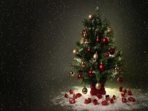 Regalitos junto a un árbol adornado para las fiestas navideñas