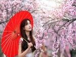 Una mujer con sombrilla roja observando las flores