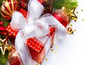 Regalo de Navidad con lazo blanco