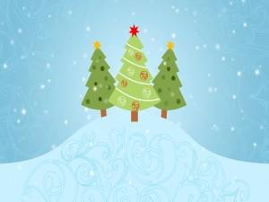 Árboles de Navidad en la colina