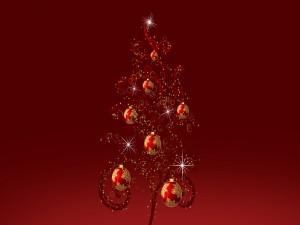 Árbol de Navidad con bolas rojas