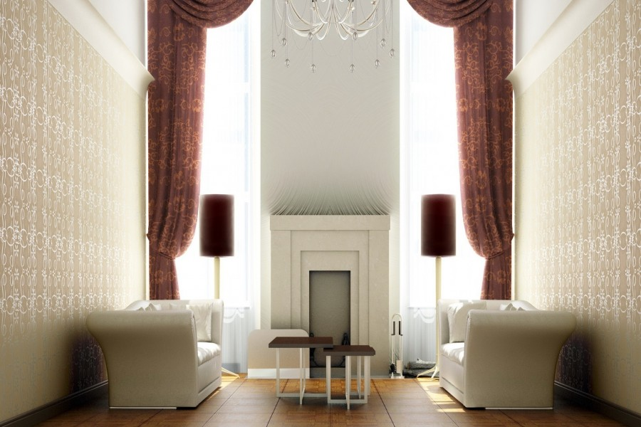 Sala de estar con sillones blancos y una chimenea