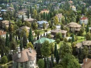 Vista superior de las casas