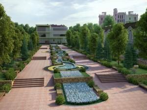 Camino con jardín hacia el edificio