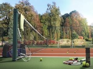 Cancha de tenis rodeada de árboles