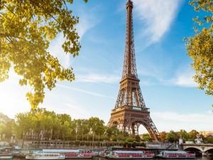 Torre Eiffel en las orillas del río Sena