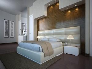 Dormitorio moderno con iluminación