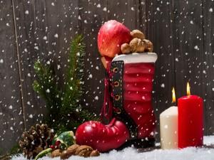 Arreglo navideño con frutos secos