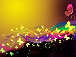Arcoíris con mariposas