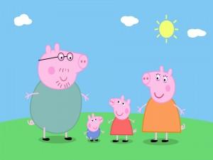 Peppa Pig y su familia en un día de sol