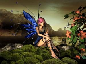 Hada sentada junto a un colibrí