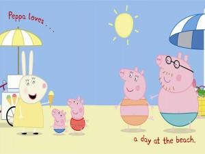 Peppa Pig pasando el día en la playa