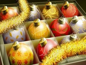 Coloridas bolas para decorar en los días de Navidad
