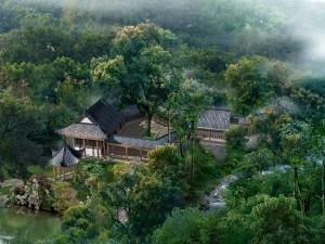Espectacular casa oriental en el bosque