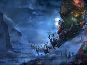 Papá Noel en el trineo repartiendo regalos