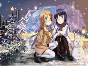Kirino Kousaka y Ruri Gokou bajo una sombrilla en una noche de Navidad