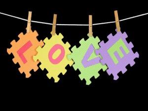 Love en piezas de puzzle