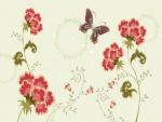 Mariposa volando sobre unos claveles