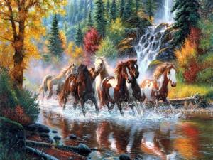 Caballos trotando por el río