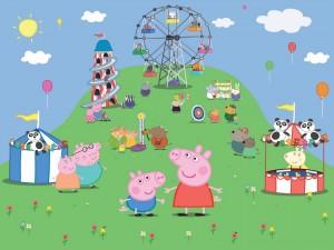 Peppa Pig y su familia en el parque de atracciones