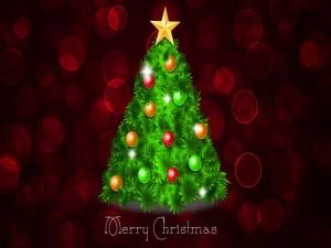 Pino de Navidad adornado con bolas y una estrella