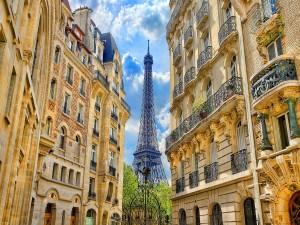 Al final de los edificios se divisa la Torre Eiffel