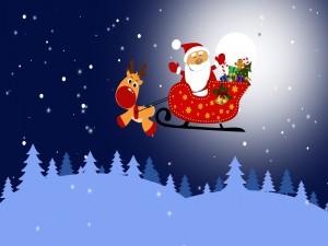 Papá Noel y Rudolph en el trineo