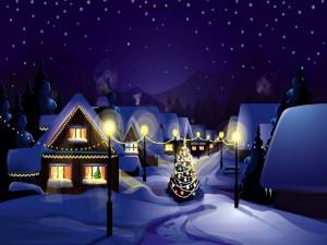 Árbol de Navidad en un pueblo nevado