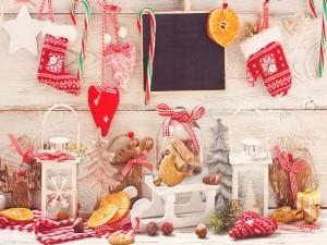 Adornos y comida para Navidad y Año Nuevo