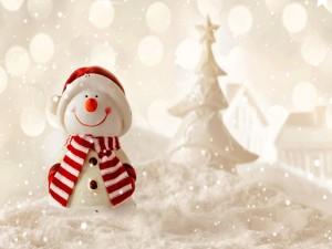 Muñeco de nieve vestido con gorro, bufanda y guantes