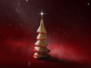 Árbol lápiz navideño sobre fondo rojo