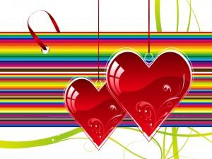 Dos corazones colgados
