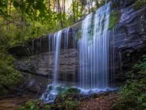 El agua cae por las rocas