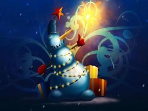 Muñeco de nieve celebrando la Navidad