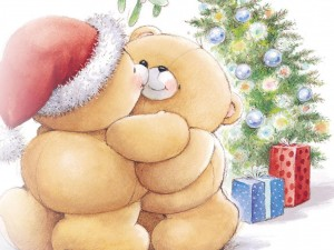 Ositos se saludan el día de Navidad