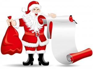 Papá Noel con un bolsa y un rollo de papel