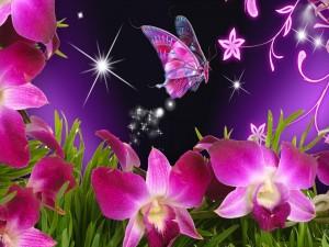 Increíble mariposa volando sobre las flores