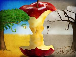 Corazón de una manzana entre la vida y la desolación