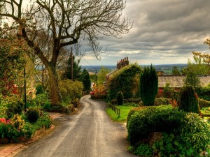 Calle en un pueblo de Inglaterra