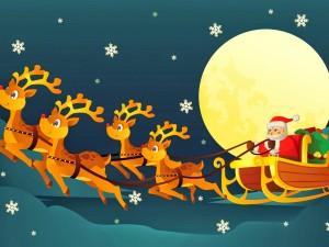 Santa Claus viajando en su trineo