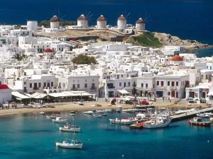 Bonita vista de Míkonos (Grecia)