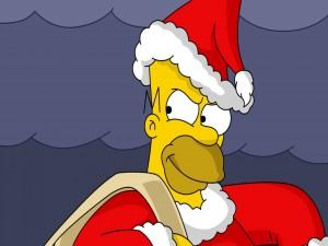 Homero vestido de Papá Noel