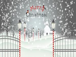 Parque cubierto de nieve en Navidad