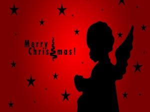 Silueta de un ángel en Navidad