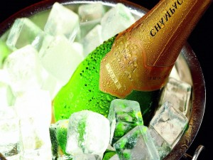 Botella de champán bien fría