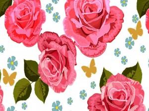 Imagen con mariposas y flores
