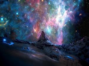 Hermoso cielo estrellado sobre el monte Cervino